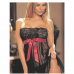 Black Mesh Lace Strapless Nightgown and Thong
