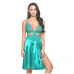 Teal Satin Lace Nightwear With Side Slit